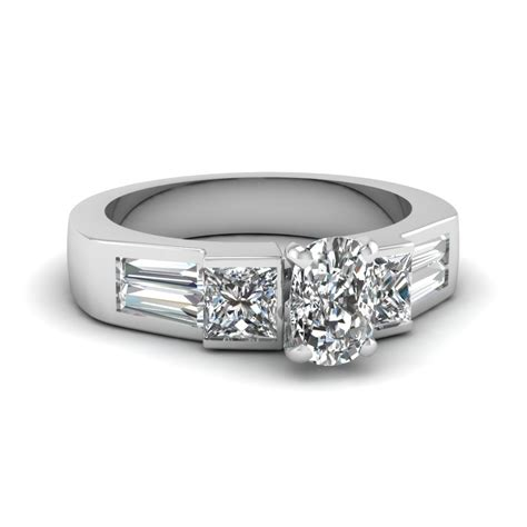 white gold baguette discounted engagement ring in