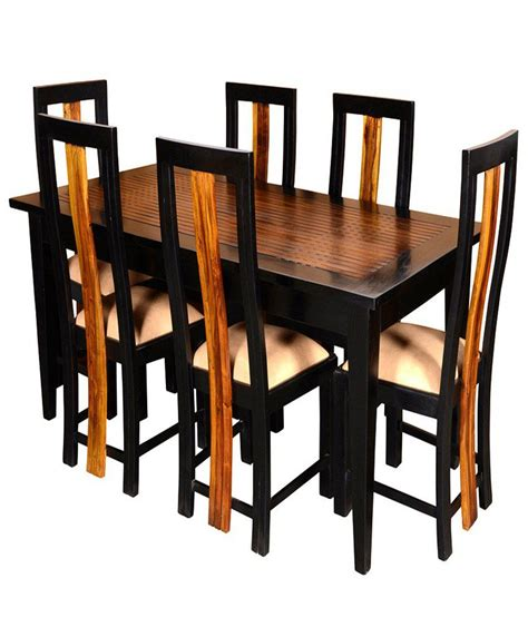 Solid Wood 6 Seater Dining Set Buy Solid Wood 6 Seater Dining Set At Best Prices In Solid Wood 6 Seater Dining Set In Walnut Finish Buy Rs Snapdeal