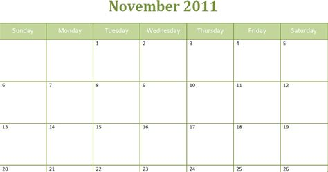 Blank Monthly Calendar Template Pdf by Printable Blank Pdf November 2011 Monthly Calendar