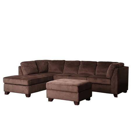 microsuede sectional sofa abbyson living derlena microsuede sectional sofa in dark