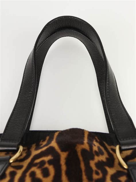 Yves Laurent Downtown Leopard Print Media Tote by Yves Laurent Leopard Print Pony Hair Large Downtown