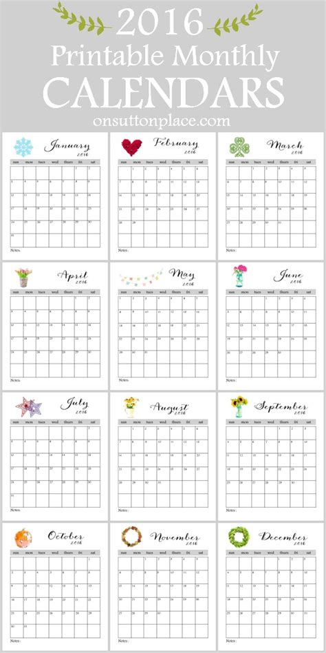 printable monthly 2016 year calendar 2016 printable monthly calendar on sutton place
