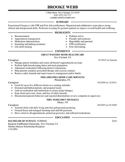 Caregiver Resume Sles Free Caregiver Description For Resume 2016 Slebusinessresume Slebusinessresume