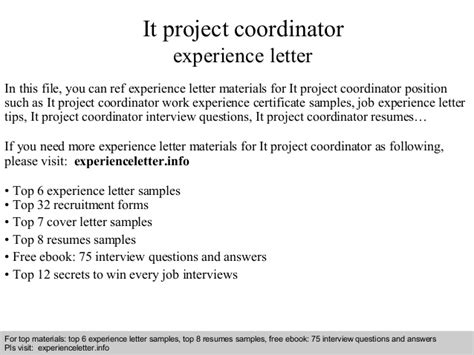 Experience Letter Physiotherapist It Project Coordinator Experience Letter