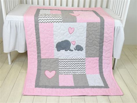 elephant baby girl bedding pink baby blanket elephant crib quilt girl bedding