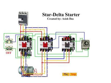 delta starter wiring diagram animation