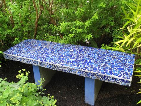 mosaic garden bench blue mosaic garden bench outdoor living pinterest