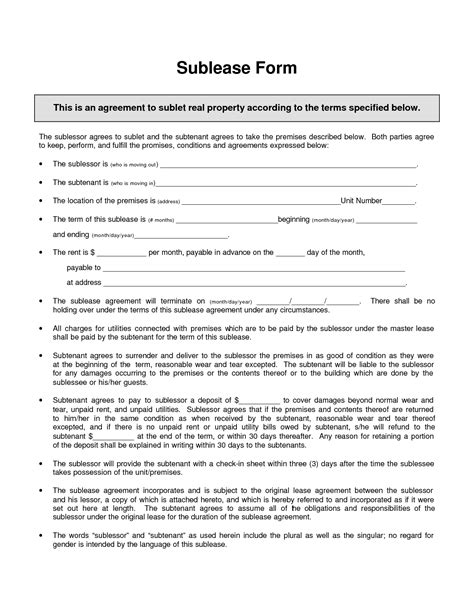 vehicle sublease agreement template sublease agreement template invitation templates