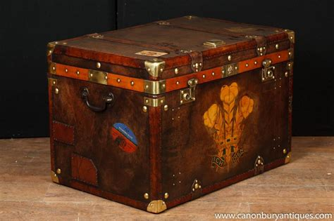 leather steamer trunk coffee single victorian steamer trunk leather box case coffee