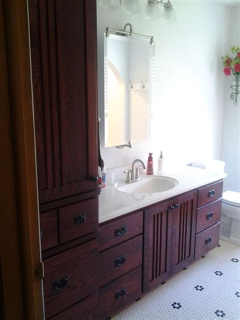 Bathroom Vanity With Linen Cabinet Quarter Sawn Oak Mission Style Vanity Matching Linen Cabinet Feature Bathrooms Pinterest