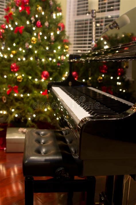 christmas piano stock image image  piano presents