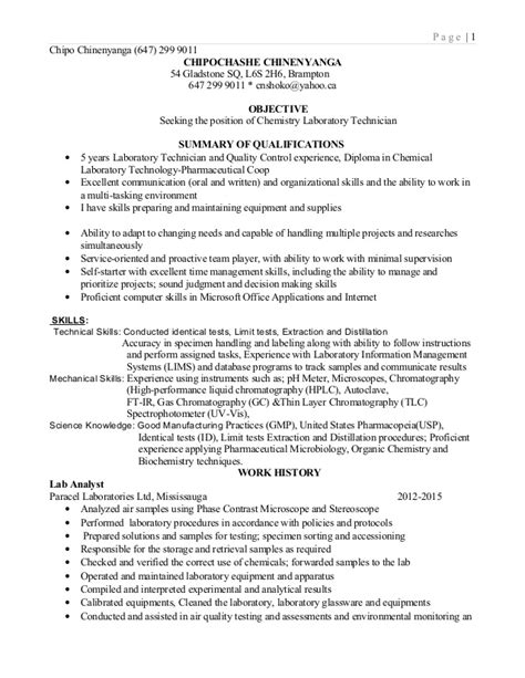 Resume Format Lab Technician Lab Technician Resume 2015
