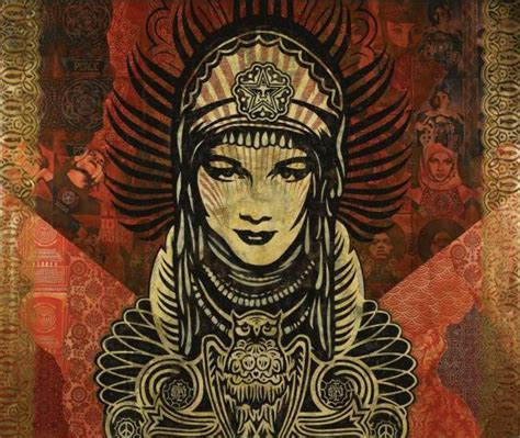 shepard fairey peace goddess print shows strong sotheby s contemporary day