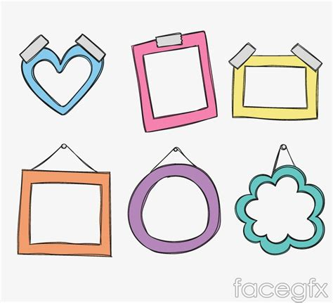 design photo cartoon 6 colour cartoon photo frames design vector over