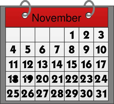 November Calendar Clipart november calendar clip at clker vector clip royalty free domain