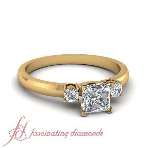 Three Engagement Ring by 3 4 Carat Three Engagement Ring In Yellow Gold With