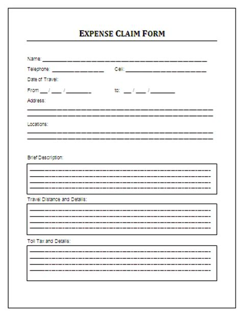 expenses claim form template free expense claim form formsword word templates sle forms