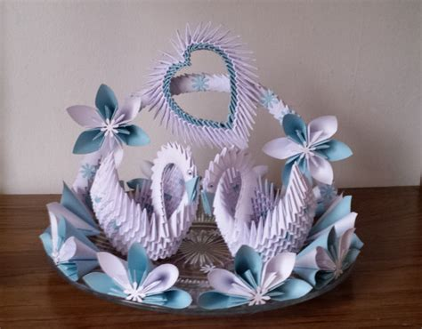 3d Origami Wedding - wedding swan plate 1 by akvees on etsy orgami