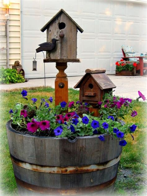 Birdhouse Planters by Wildly Whimsical Barrel Planter Ideas Garden Club