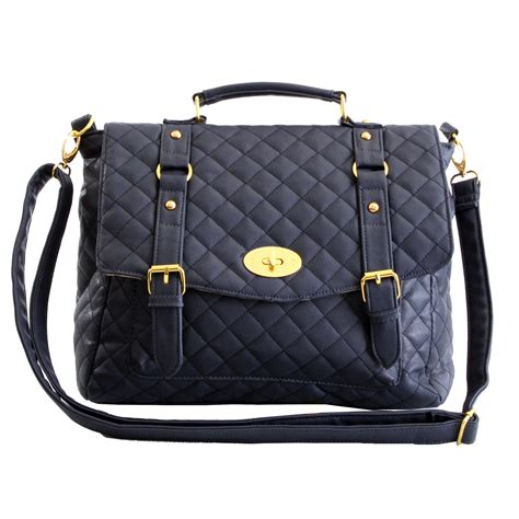 womens designer style quilted satchel shoulder