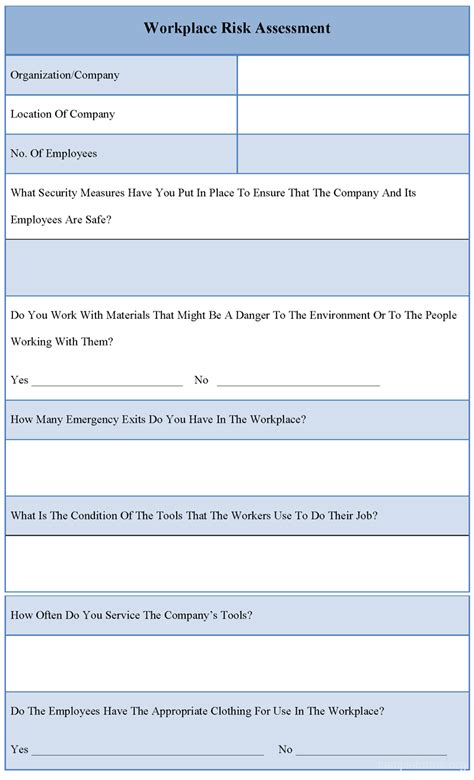 workplace hazard assessment template sle workplace risk assessment form sle forms