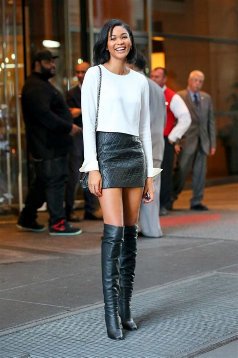 look for less chanel iman quilted leather skirt and