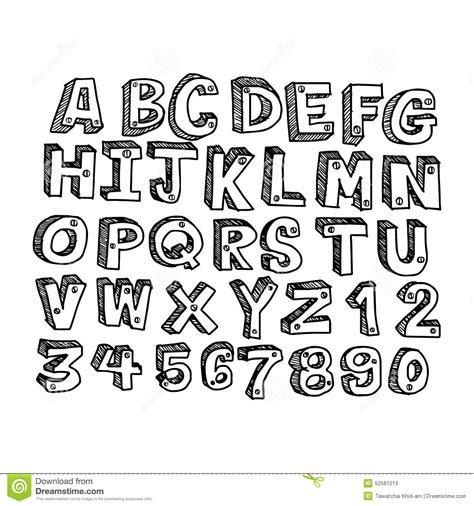 free doodle kid font doodles font handwritten in 3d style stock vector image