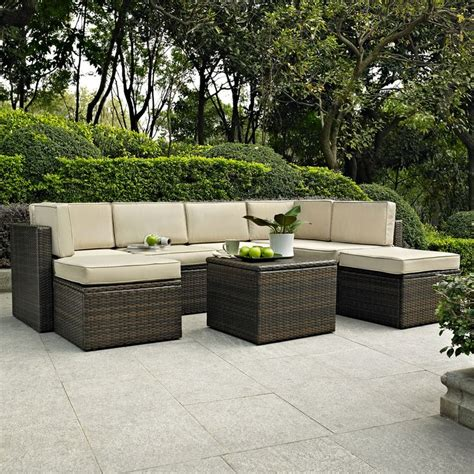 Shop Crosley Furniture Palm Harbor 8 Piece Wicker Patio Lowes Wicker Patio Furniture