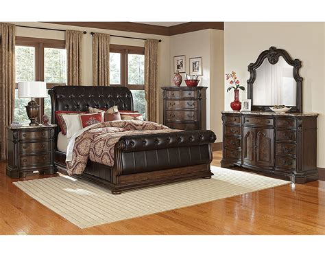 the monticello sleigh bedroom collection pecan value