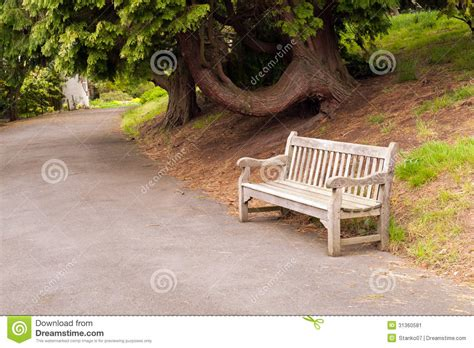 park bench scene park alley and bench stock image image of outdoors