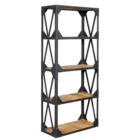 Wood And Metal Bookcases vintage industrial metal and wood large bookcase