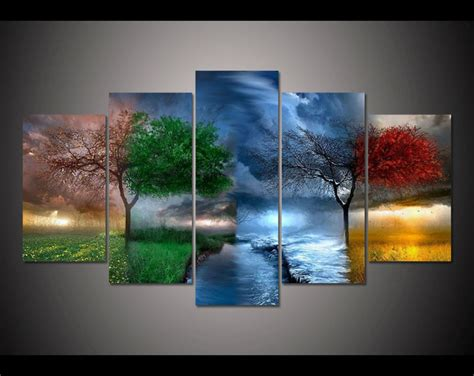 free shipping 5 panel large hd printed painting