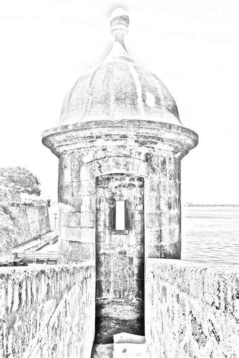 dibujo del morro entrance to sentry tower castillo san felipe del morro