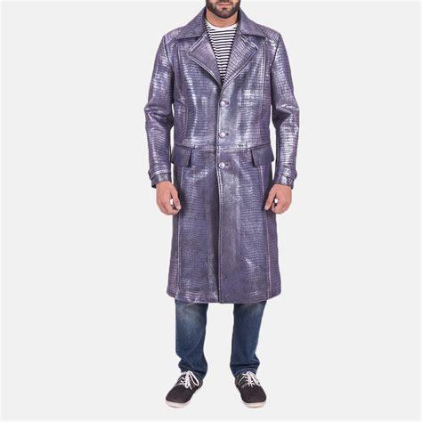 Crocodile Purple mens crocodile purple leather coat
