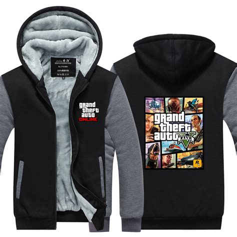 Hoodie Zipper Anak Gta V Clothing arrival gta grand theft auto v s winter jackets