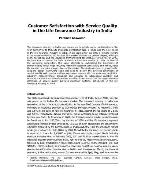 Customer Essay by Customer Satisfaction With Service Quality In The Insurance Indu