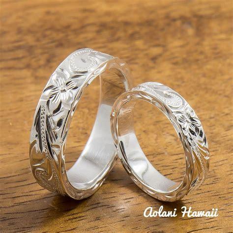 silver wedding ring set of traditional hawaiian