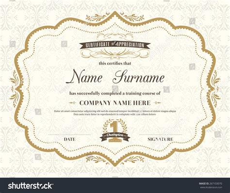 vintage certificate template vintage retro frame certificate background design stock