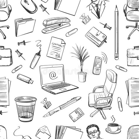 price plan concept free sketch freebie supply pattern of creative hand drawn office workspace stock