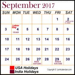 Calendar 2017 September Holidays September 2017 Calendar With Holidays Templates Tools