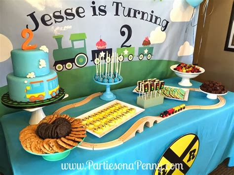 train themed  birthday party dessert table spread wwwpartiesonapennycom parties