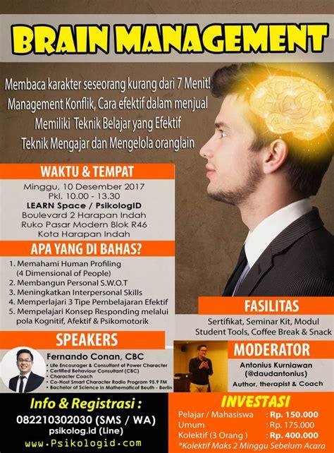 Brain Management seminar psikologi brain management psikologid