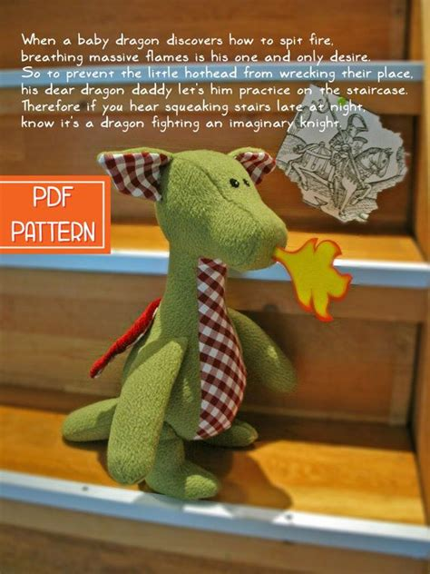 yoki speelgoed pdf sewing pattern tutorial for a dragon soft toy