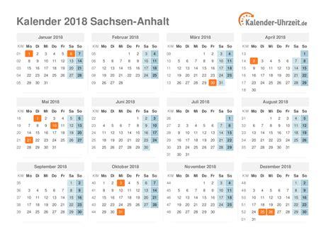Kalender 2018 Sachsen Feiertage 2018 Sachsen Anhalt Kalender