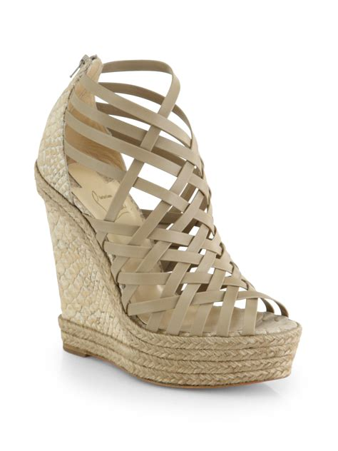 New 0204 1 Wedges Christian christian louboutin tramontagne leather cork wedge sandals