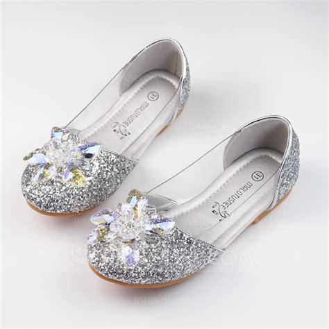 Flat Shoes Glit Silver 1 s sparkling glitter flat heel closed toe flats with rhinestone sparkling glitter 207117272