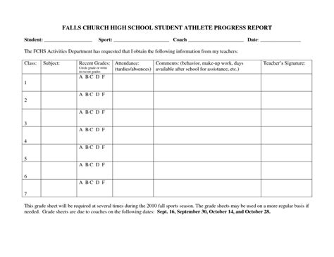student progress report template falls church high school student athlete progress report sle by linzhengnd helloalive