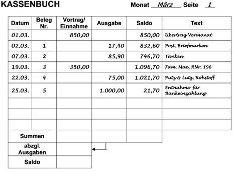 Rechnung Muster Vortrag Kassenbuch F 252 Hren Buchf 252 Hren Lernen Kurs