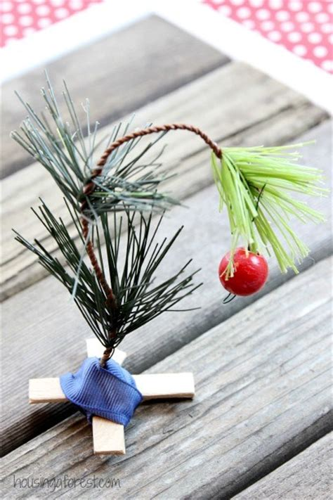 charlie brown christmas tree ornament housing a forest