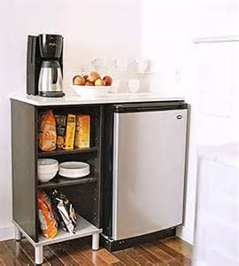 Include a small fridge coffeemaker and extra storage in the kitchen
